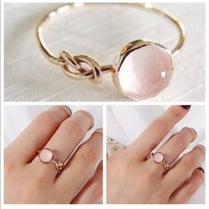 Jewelry - Rose quartz pink moonstone knot gold ring